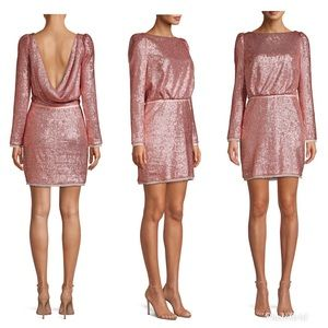 Rachel Zoe Long Sleeve Open Back sequins dress